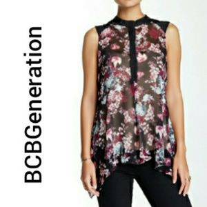 BCBGeneration Floral Mandarin Collar Blouse